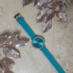 Teal with Rhinestones Fashionable Watch